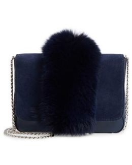 Lock Genuine Fox Fur Shoulder Bag
