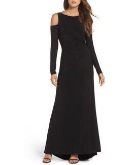 Cold Shoulder A-line Gown