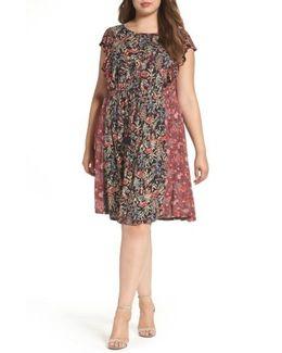 Mixed Floral Print Dress