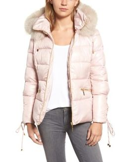 Lace Sleeve Puffer Coat With Faux Fur Trim Hood