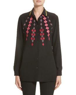 Diamond Embroidered Silk Blouse