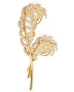 Pave Double Feather Pin