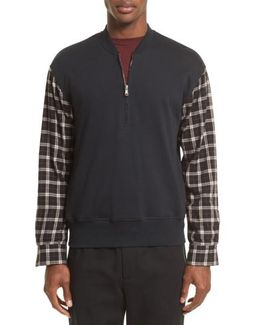 Pullover Bomber With Flannel Sleeves