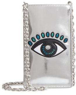 Icons Eye Leather Phone Case On A Chain - Metallic