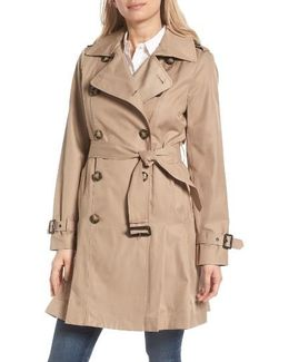 Double Breasted Skirted Trench Coat