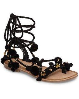 Portia Pom Embellished Wraparound Sandal