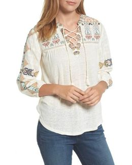 Embroidered Lace-up Top