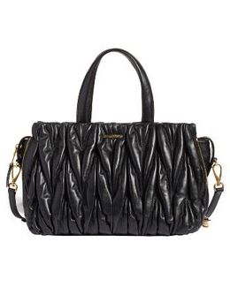 Matelasse Leather Top Handle Satchel