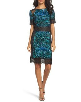 Illusion Lace & Embroidered Mesh Sheath Dress