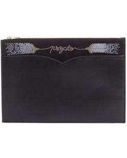 Olympia Le Tan Medium Embellished Leather Zip Pouch
