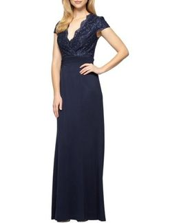 Lace & Jersey A-line Gown