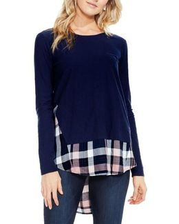 Mixed Media Plaid Top