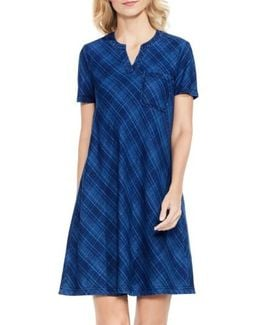 Plaid Denim A-line Dress