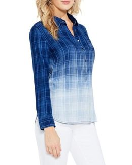 Ombre Plaid Denim Shirt