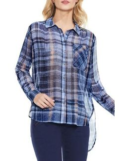 Plaid High/low Blouse