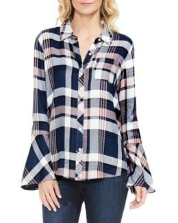 Plaid Bell Sleeve Shirt