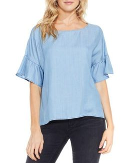 Ruffle Sleeve Chambray Top