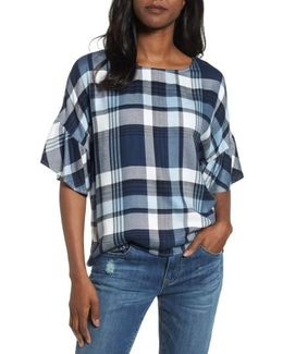Ruffle Sleeve Plaid Top
