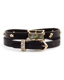 Geo Leather Wrap Bracelet & Choker