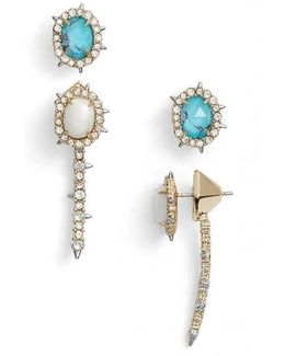 S Set Of Ear Jacket & Stud Earrings