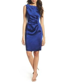 Stretch Satin Sheath Dress