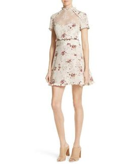 Lace Inset Floral Silk Dress