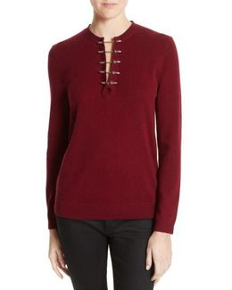 Pierced Collar Wool & Cashmere Pullover