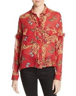 Print Ruffled Silk Shirt