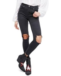 High Rise Busted Knee Skinny Jeans