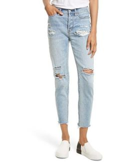Lacey Stilt Embroidered Crop Jeans