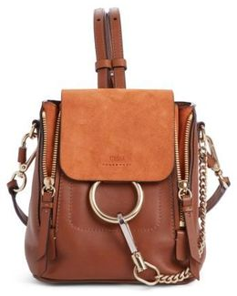 Small Faye Suede & Leather Backpack