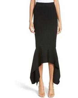 Rib Knit Ruffle Hem Midi Skirt