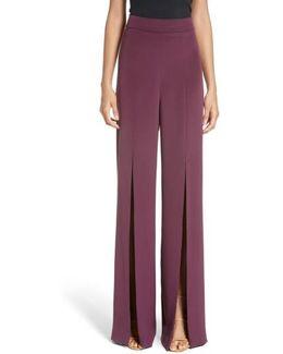 Slit Silk High Waisted Pants