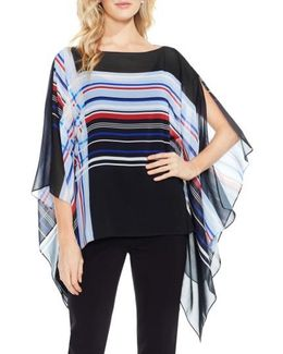 Linear Graphic Panel Chiffon Poncho