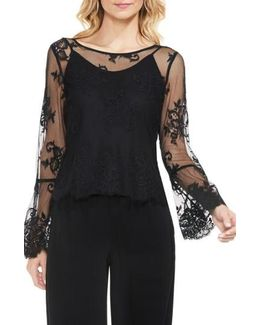 Bell Sleeve Mesh Lace Blouse