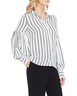 Stripe Puff Sleeve Blouse