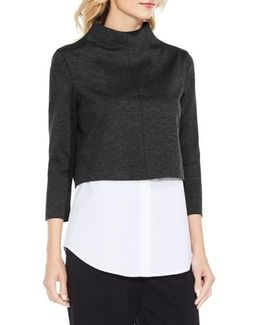 Layered Look Ponte Knit Top