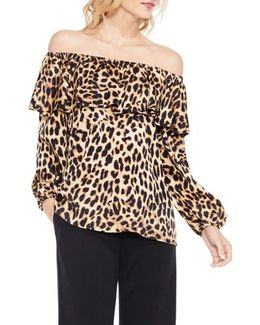 Off The Shoulder Animal Print Blouse
