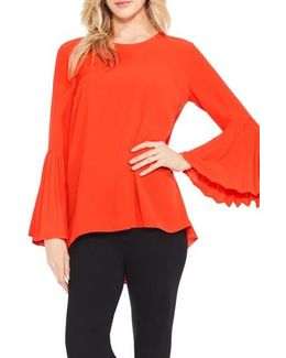 Pleat Bell Sleeve Blouse