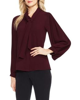 Long Sleeve Tie-neck Blouse