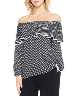 Droplet Geo Ruffled Off The Shoulder Top