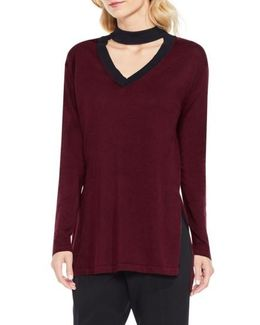 Bell Sleeve Choker Neck Sweater