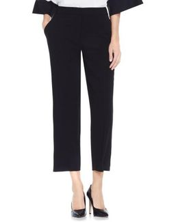 Texture Base Straight Leg Crop Pants