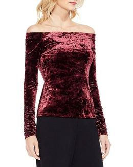 Ruched Off The Shoulder Velvet Top