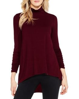 Ruched Sleeve Turtleneck