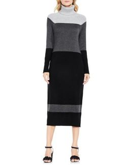 Colorblock Turtleneck Sweater Dress