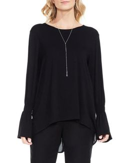 Mixed Media Flare Sleeve Top