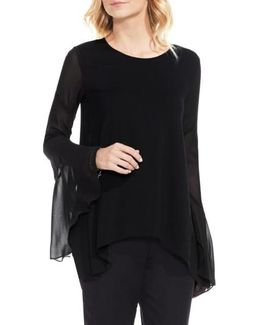 Mix Media Bell Sleeve Blouse