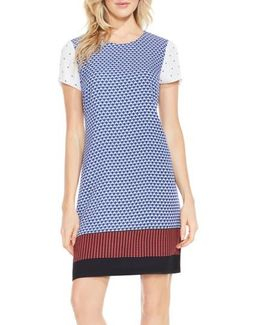 Foulard Border Print Shift Dress