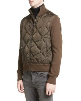 Maglione Knit Sleeve Quilted Jacket